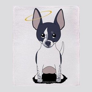 Black White Chihuahua Angel Throw Blanket